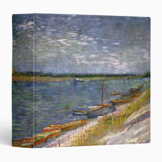 Van Gogh View of River with Rowing Boats, Fine Art 3 Ring Binder
