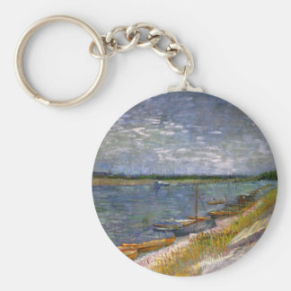 Van Gogh View of River with Rowing Boats, Fine Art Keychain