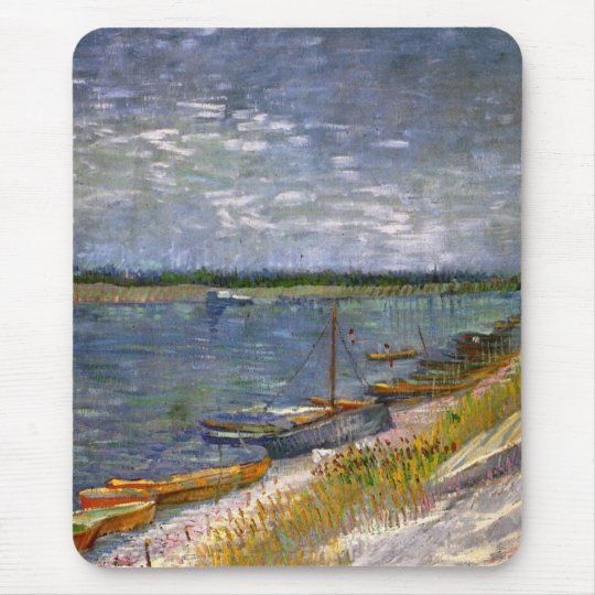 Van Gogh View of River with Rowing Boats, Fine Art Mouse Pad
