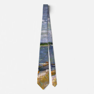 Van Gogh View of River with Rowing Boats, Fine Art Neck Tie