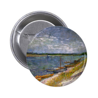 Van Gogh View of River with Rowing Boats, Fine Art Pinback Button