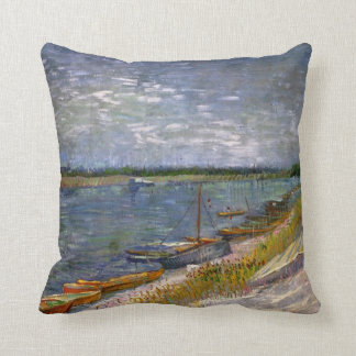 Van Gogh View of River with Rowing Boats, Fine Art Throw Pillow