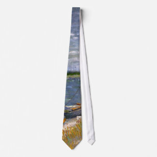 Van Gogh View of River with Rowing Boats, Fine Art Tie