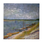 """Van Gogh View of River with Rowing Boats, Fine Art Tile<br><div class=""""desc"""">View of a River with Rowing Boats by Vincent van Gogh is a vintage fine art post impressionism maritime painting featuring a seascape with boats along the Seine river bank. About the artist: Vincent Willem van Gogh was a Post Impressionist painter whose work was most notable for its rough beauty,...</div>"""