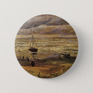 Van Gogh View of Sea at Scheveningen, Fine Art Pinback Button