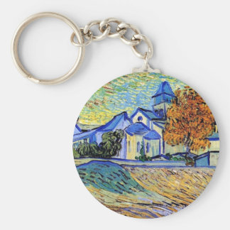 Van Gogh - View of the Asylum and Chapel Basic Round Button Keychain