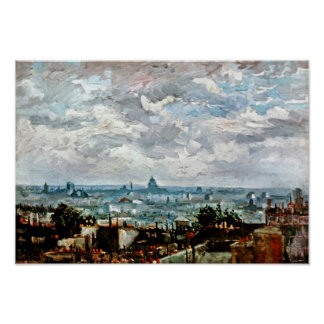 Van Gogh - View Of The Roofs Of Paris Poster