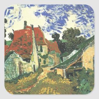 Van Gogh Village Street in Auvers, Vintage Cottage Square Stickers
