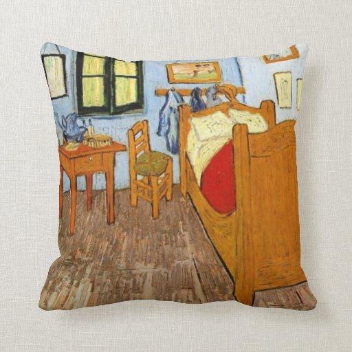Wooden Bedroom Bench Van Gogh Bedroom Art Bedroom Ceiling Light Fixtures Kids Bedroom Curtains Design: Van Gogh: Vincent's Bedroom In Arles, 1889 Throw Pillow
