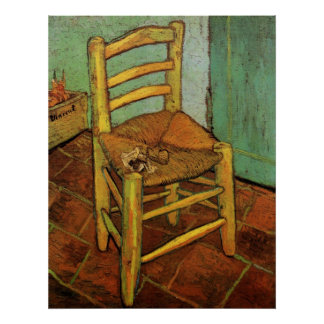 Van Gogh; Vincent's Chair with Pipe, Vintage Art Poster
