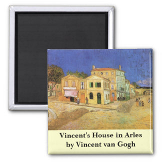 Van Gogh, Vincent's House in Arles (Yellow House) 2 Inch Square Magnet