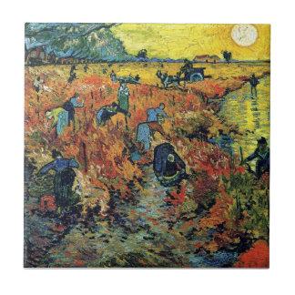 Van Gogh - viñedo rojo en Arles Azulejo Cuadrado Pequeño