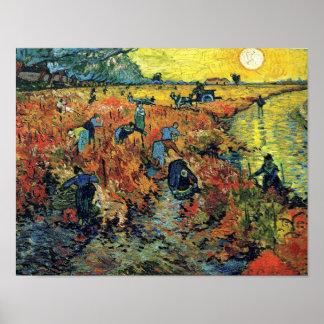 Van Gogh - viñedo rojo en Arles Póster