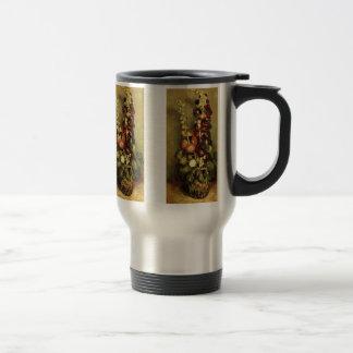 Van Gogh Vintage Flowers Art, Vase with Hollyhocks 15 Oz Stainless Steel Travel Mug