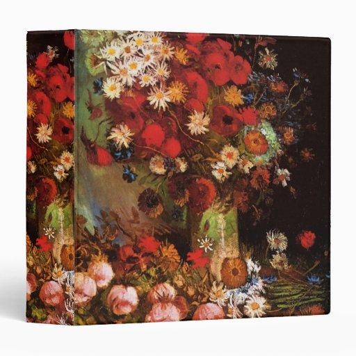 Van Gogh Vintage Flowers in Vase Floral Still Life Vinyl Binder