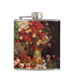Van Gogh Vintage Flowers in Vase Floral Still Life Hip Flask