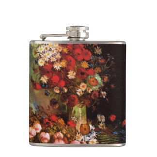 Van Gogh Vintage Flowers in Vase Floral Still Life Hip Flask