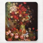 Van Gogh Vintage Flowers in Vase Floral Still Life Mousepads