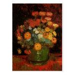 Van Gogh Vintage Painting Vase Flowers Blossoms Post Card