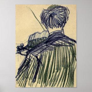 Van Gogh - violinista visto de la parte posterior Póster