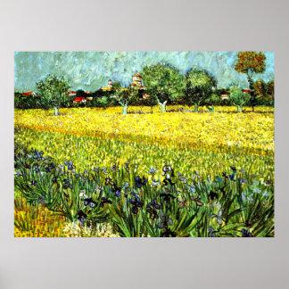 Van Gogh - vista de Arles con los iris, 1888 Poster