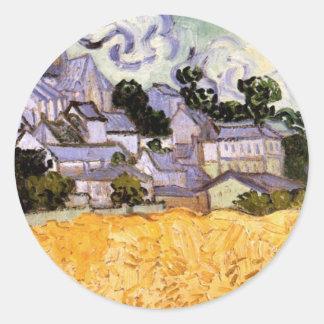 Van Gogh; Vista de Auvers con la iglesia Pegatina Redonda