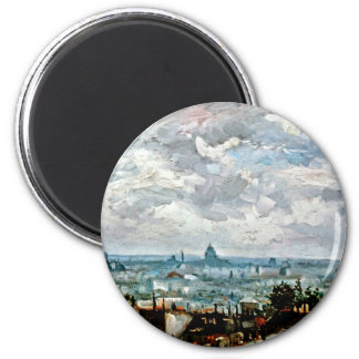 Van Gogh - vista de los tejados de París Imán Redondo 5 Cm