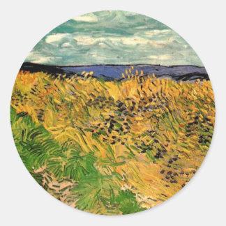 Van Gogh Wheat Field Cornflowers, Vintage Farm Art Classic Round Sticker