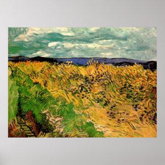Van Gogh Wheat Field Cornflowers, Vintage Farm Art Poster