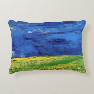 Van Gogh Wheat Field Under a Clouded Sky Accent Pillow