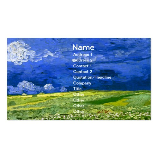 Van Gogh Wheat Field Under Clouded Sky (F778) Double-Sided Standard Business Cards (Pack Of 100)