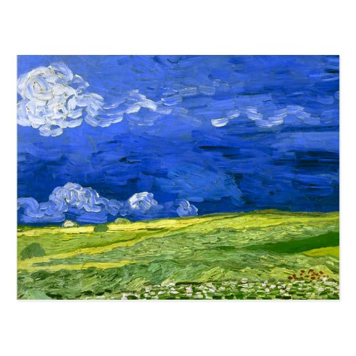 Van Gogh Wheat Field Under Clouded Sky (F778) Postcard