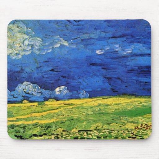 Van Gogh; Wheat Field Under Clouded Sky Mousepads