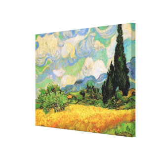 Van Gogh; Wheat Field w Cypresses at Haute Galline Stretched Canvas Prints