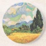 Van Gogh; Wheat Field w Cypresses at Haute Galline Beverage Coaster