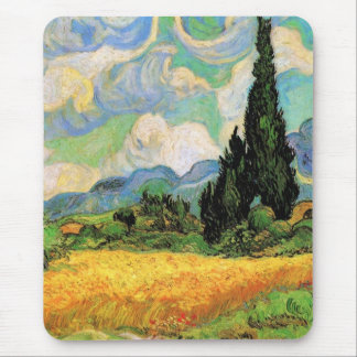Van Gogh Wheat Field w Cypresses at Haute Galline Mouse Pad