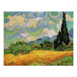 Van Gogh Wheat Field w Cypresses at Haute Galline Poster