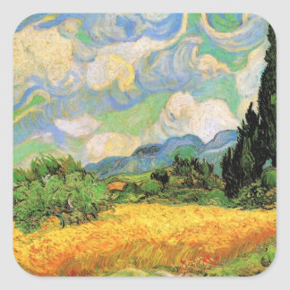Van Gogh Wheat Field w Cypresses at Haute Galline Square Sticker