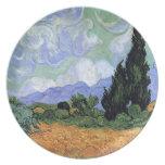 Van Gogh Wheat Field/Wheatfield Cypresses Fine Art Dinner Plates