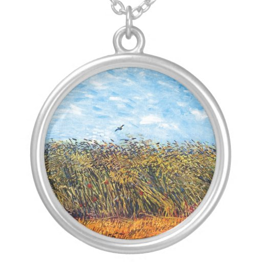 Van Gogh - Wheat Field With A Lark Round Pendant Necklace