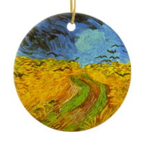 Van Gogh Wheat Field with Crows, Vintage Fine Art Ceramic Ornament