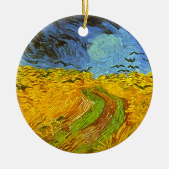Van Gogh Wheat Field with Crows, Vintage Fine Art Ceramic Ornament