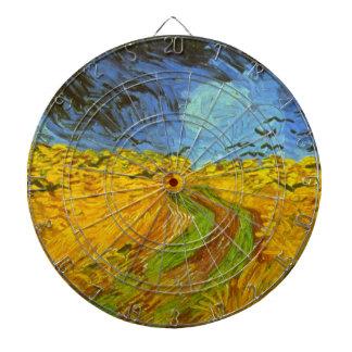 Van Gogh Wheat Field with Crows, Vintage Fine Art Dartboard With Darts