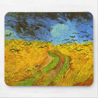 Van Gogh Wheat Field with Crows, Vintage Fine Art Mouse Pad