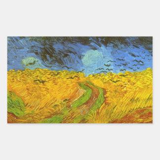Van Gogh Wheat Field with Crows, Vintage Fine Art Rectangular Sticker