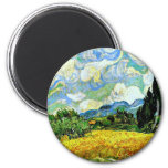 Van Gogh: Wheat Field with Cypresses 2 Inch Round Magnet