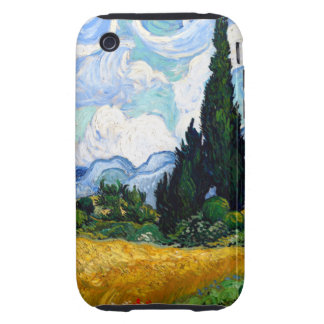 Van Gogh Wheat Field with Cypresses Tough iPhone 3 Covers