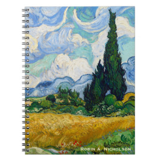 Van Gogh Wheat Field with Cypresses Personalized Notebook