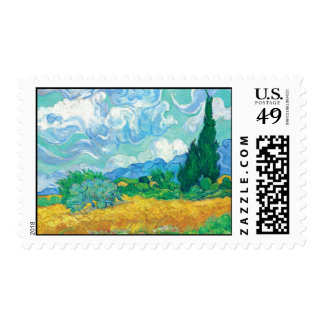 Van Gogh- Wheat Field with Cypresses Postage Stamp