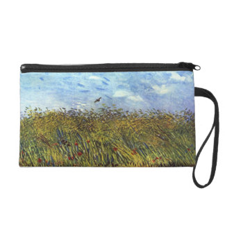 Van Gogh Wheat Field with Poppies and Lark Wristlet Clutches